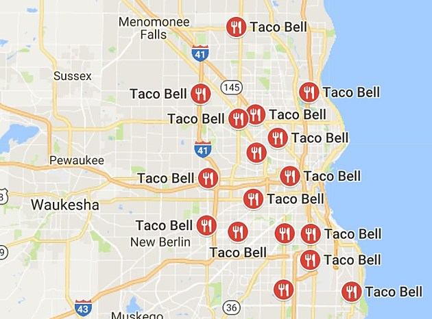 MAP OF TACO BELLS